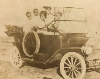Family in a Car Real Photo Postcard RPPC