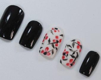 10 Red Flower Nails, Press On Nails, Glue on Nails, Full Coverage Nails
