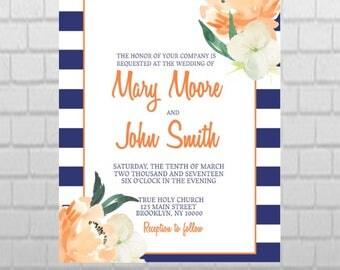 PRINTABLE Floral and Stripe Wedding Invitation