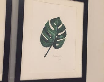 Original Botanical Leaf Watercolour Painting A4
