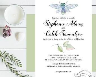 Dragonfly Wedding Invitation, Dragonfly Wedding Suite, Minimalist Wedding Invite, Modern Wedding Invitation, Printable Wedding Invite