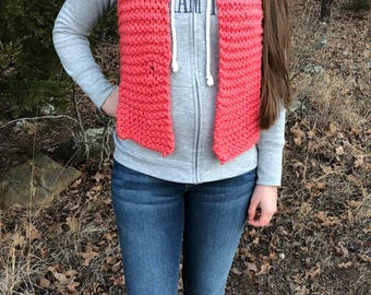 coral hand-knitted acrylic scarf