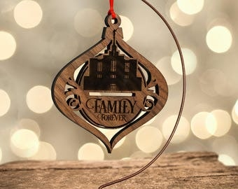 LDS Temple Ornament, Calgary Alberta, Family Forever (or Customize) in Laser Cut Hardwood