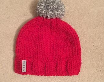 Men's bobble hat, women's bobble hat, red hat, grey bobble, chunky, hand knitted hat, beanie hat, pom pom hat, handmade