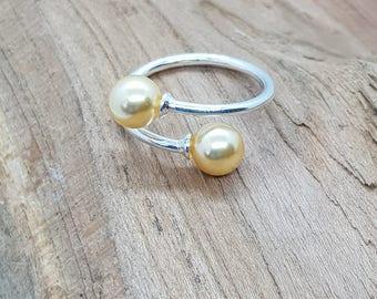 Sterling Silver Swarovski Pearl Duo Rings
