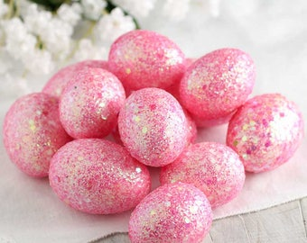 12 Sparkly Pink Easter Eggs Glitter Barbie Girly Glittery Bunny Chicks Unique Sparkle Sale Foam Ornaments Spring Basket Egg Hunt Table