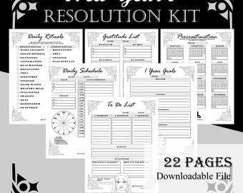 New Year's Resolution Planner Kit 2018 (Goal setting, To Do List, Daily Schedule, Habit Tracker, Procrastination and more) - US Letter size