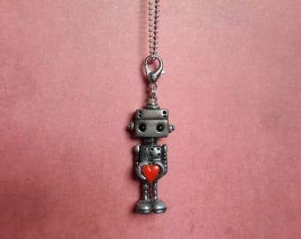 OOAK cute robot charms, robot pendants, robot jewellery, robot and love heart, valentine gift, valentine friendship charm