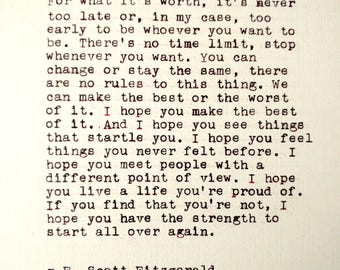 F. Scott Fitzgerald Handtyped Quote   Typewriter Quote Print   Custom Handmade Art Print   Vintage Antique Typed Quote   Wall Art