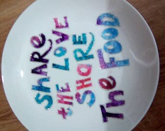 Decorative plate. Multi coloured with glitter highlights.