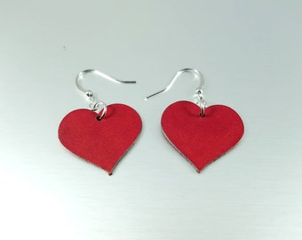 Mini Red Heart Earrings