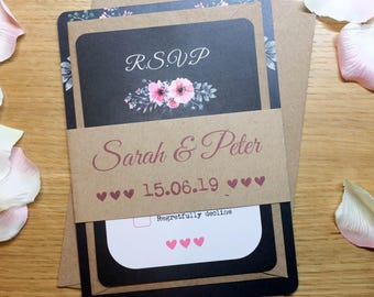 Blackboard Floral Pink Wedding Invitation Set (5x7)