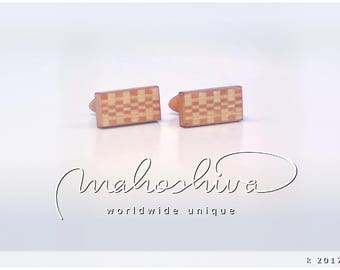 wooden cuff links wood flamed maple maple handmade unique exclusive limited jewelry - mahoshiva k 2017-66
