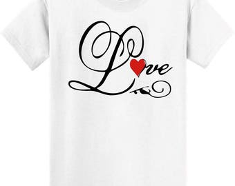 T Shirt with black written scroll love. With a red heart For Mothers Day or any occasion this is a great gift  tee shirt.