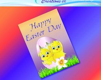 Easter Card, Instant Download, Easter, Happy Easter, Easter Sunday, Easter Egg, Chickens, Printable Easter Card, Digital Greeting Card