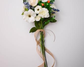 Wild Flower Bouquet, Floral Arrangement, Silk Flowers, Home Decor