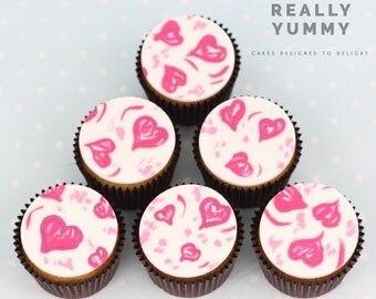 Hand-painted hearts cupcake toppers - 6