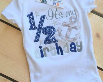 Personalized It's My 1/2 Birthday Anchor Outfit