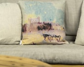 """Old Pressburg Castle painting, decorative cushion with colorful printed details of paint, Bright color, 16"""" 40 cm - Limited Edition of 100"""