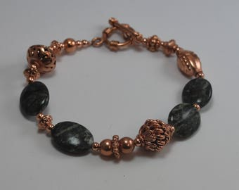 Agate Copper Bracelet, Gemstone Beads, Toggle Clasp 7.5""