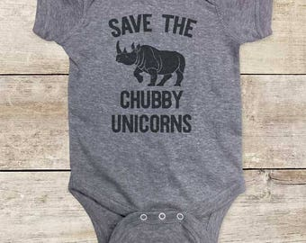 Save the Chubby Unicorns - funny rhino rhinoceros Birthday Baby bodysuit or Toddler Shirt or Youth Shirt - cute baby shower gift
