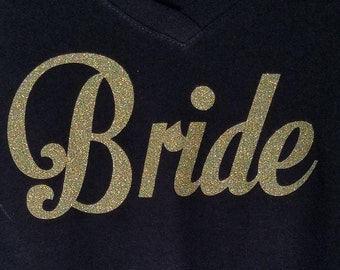 Glitter Bride Shirt - Bridal Shirt - Bride V Neck - Bridal Party Shity