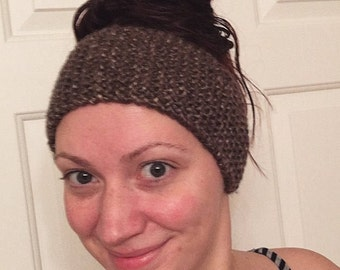 Hand Knit Brown Headband