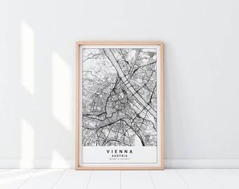 Vienna Map, Austria Map, Vienna Map Print, Austria Poster, Vienna Austria Map, Vienna Art, Map Poster, Austria Map Poster, Vienna Art Poster