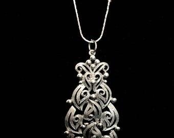60s Silver Large Pendant Necklace  LV0060