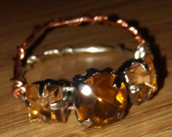 Copper and Silver Twist Wire Gem Ring
