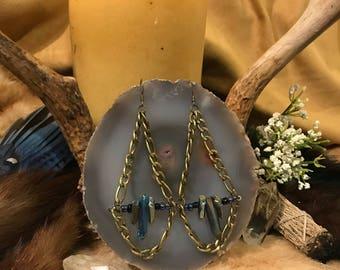 Rainbow Aura Quartz Chain Earrings~*