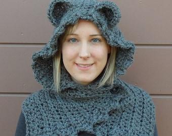 Crochet Bear Ear Hooded Cowl