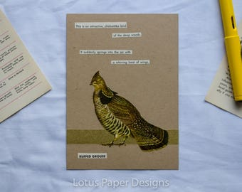 Handmade Blank Greeting Card (Flat A6) - Ruffed Grouse - Golden Guide to BIRDS