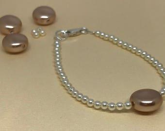 Swarovski Crystal Rose Coin Pearl and Crystal Rose Beaded Bracelet.