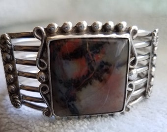 Vintage Sterling Silver Cuff Bracelet with Petried Multi-Color Stone