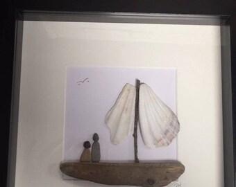 Handmade Pebble Art Fishing/Sailing Picture