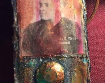 Ida B Wells Embellished Portrait Necklace