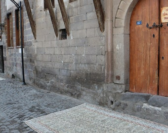 Free Shipping naturel wool handmade turkish carpet unique oushak rug turkey rug 6.6 x 9.2 ft. rustic tribal rug bohemian ethnic rug MB217