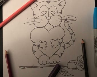 Kitty Krayonz Valentine's Day Colouring Page 2