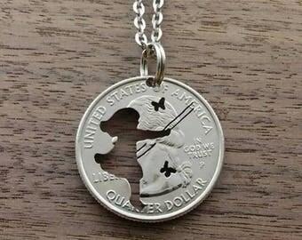 Coin jewelry, Quarter dollar USA-girl on Swing