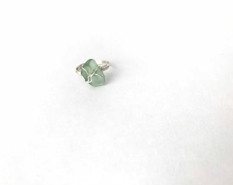 Genuine Seafoam Green Wire Wrapped Sea Glass Ring