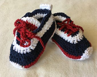 Red, White, and Blue Booties and Beanie