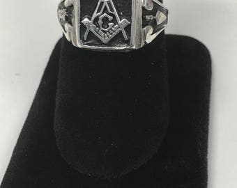 Mens MASONIC RING / Handcrafted Handfinished Beautiful Mason Style Ring / casted finished Jewelryhouse jewelers available Gold Silver