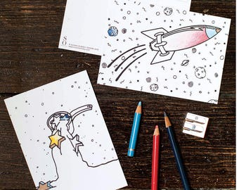 "Spaceship Coloring Greeting Card - from ""Abracadabra"" Coloring Book"