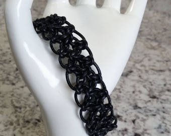 Black Leather Climbing Diamonds Bracelet with Drawstring Closure
