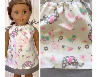 "18"" Doll Clothes/Doll Pillowcase Dress/American Girl Dress/Baby Animal Friends"