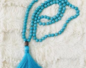Turquoise Mala Necklace, 108 Beads, Silk Tassel