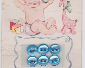 Vintage baby buttons -- Lady Washington's Baby Pearls in blue