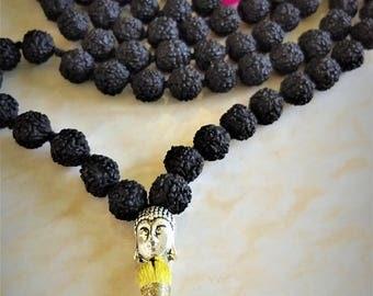 Black rudraksha mala beads from India