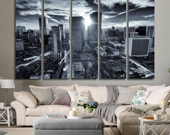 EXTRA LARGE 3,5 or 1 Panels Art Canvas Print Beautiful Colorado Skyline at Night Light Buildings Wall Home Colorado Wall Art